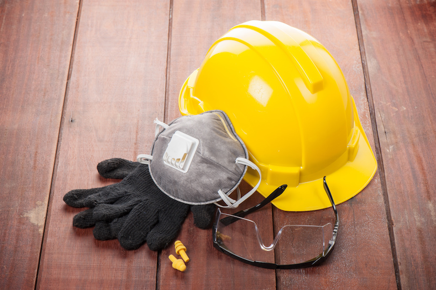 hard hat, safety equipment, safety glasses, ear plugs